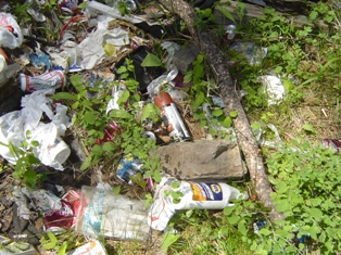 Toxic Household Waste at a illegal dump on Timberlane Road South of Ronan
